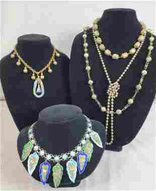 Victorian Metal And Enamel Necklace Lot Of 5