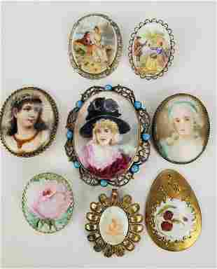 Antique Hand Painted Brooches Belt buckle