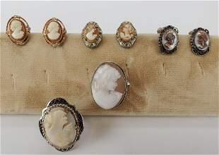 Cameos Lot Of Brooch 800, Earrings, Ring