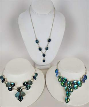 Women's Sterling Silver Necklaces Blue Stones