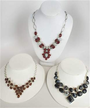 Sterling Silver And Natural Stones Necklaces
