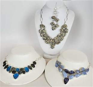 Women's Sterling And Natural Stone Lot Of 4