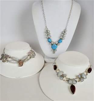 Lot of 3 Sterling Silver Natural Stones Necklaces