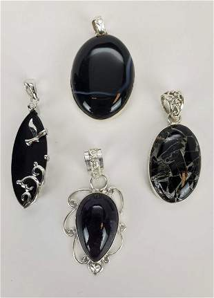 Lot of 4 Sterling Silver Natural Stone Pendants