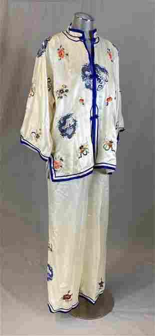 Chinese Embroidered Silk Pajamas