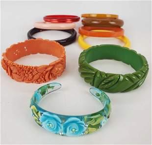 Vintage Bakelite And Celluloid Lot of Bracelets
