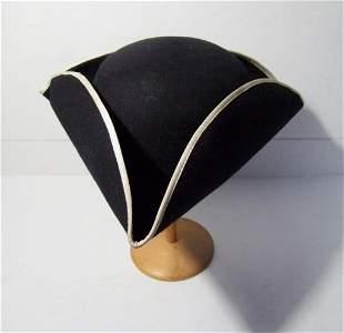 C/1940's Wool Black Tri-Corner Colonial Style Hat