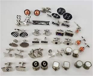 Vintage Men's Cufflinks And Tie Pins Silver Tone