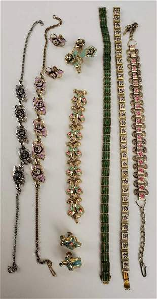 Vintage Mid-century Lot Of Enamel Jewelry