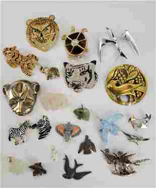 Vintage Jewelry Lot Of Lion's Tigers Plus
