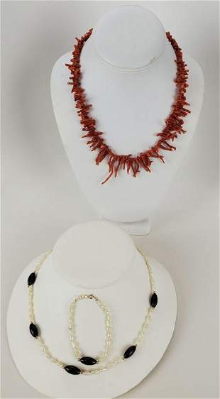 Vintage Branch Coral And Fresh Water Pearl 14kt