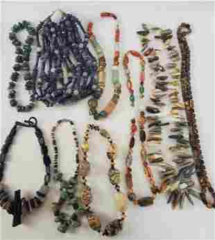 Natural And Polished Stone Necklace Lot Of 9