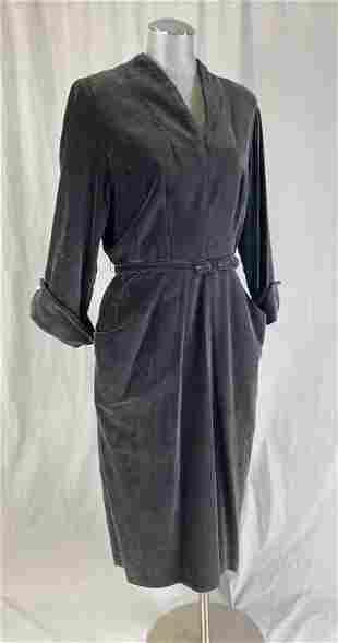 Circa 1940s/50s Black Velveteen Dress