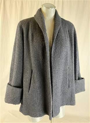 1950s Black Wool Boucle Swing Coat