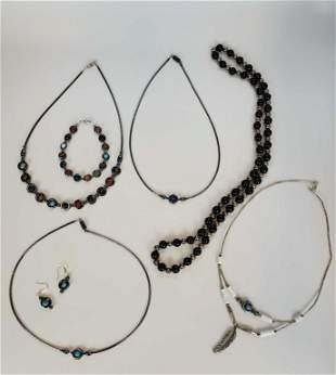 Women's Natural Stones Necklaces Lot Of 7