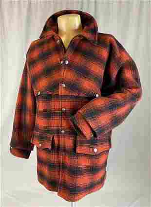 Men's Red and Black Plaid Wool Men's Hunting Coat