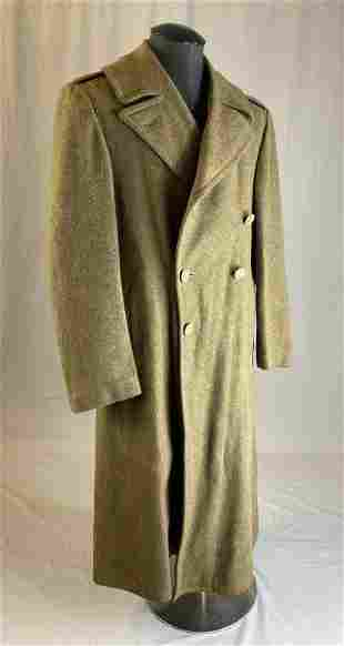 Green Wool Military Overcoat 36R