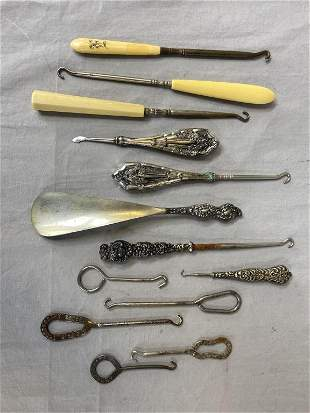 Collection of Antique Shoe Button Hooks