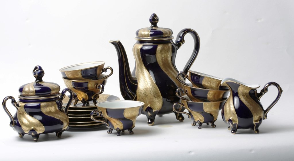 17PC GERMAN ECHT KOBALT TEA SET
