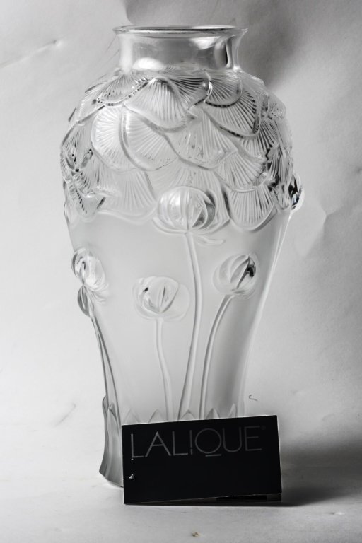 """11 1/2"""" TALL LALIQUE VASE - WATER LILLIES"""