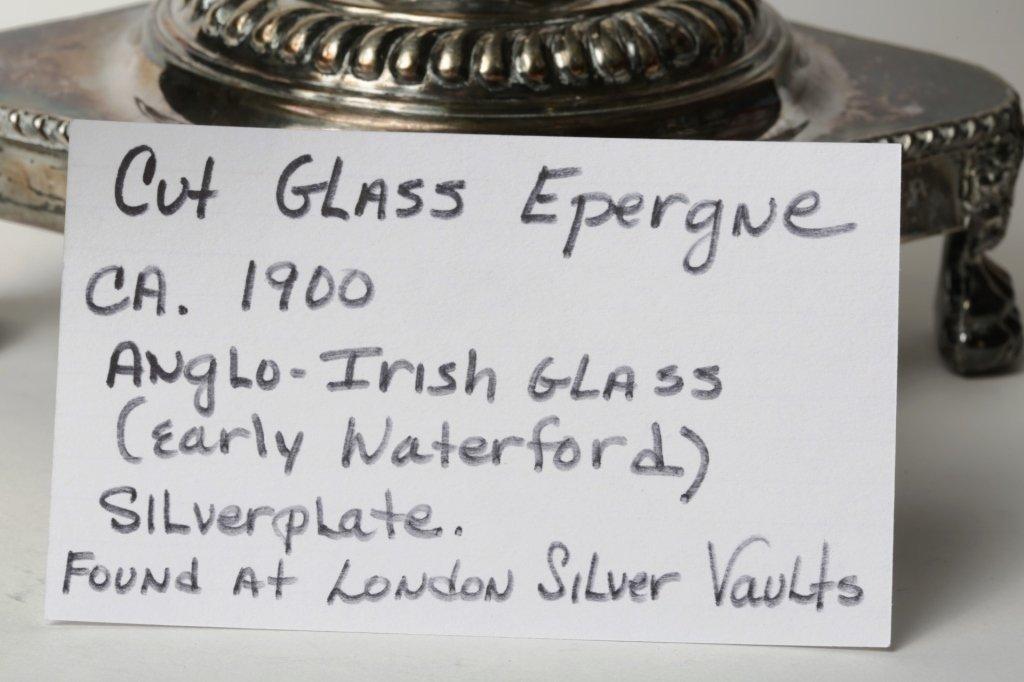 CIRCA 1900 CUT GLASS EPERGNE ANGLO-IRISH GLASS - 2