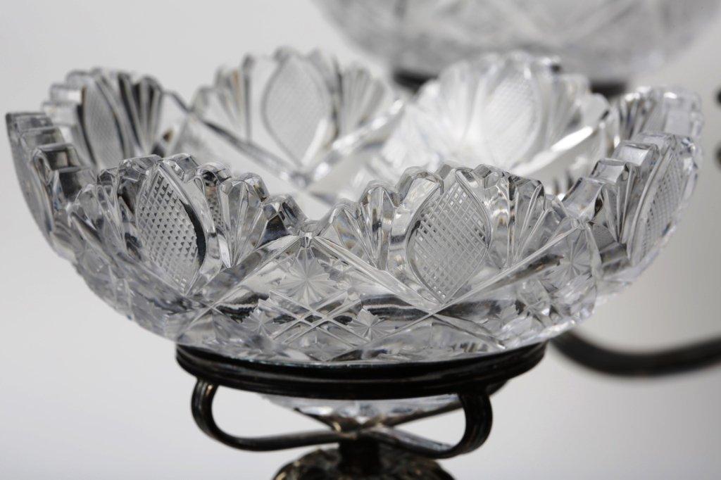 CIRCA 1900 CUT GLASS EPERGNE ANGLO-IRISH GLASS - 3