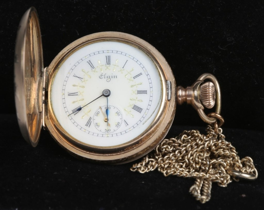 ANTIQUE LADIES ELGIN HUNTING CASE POCKET WATCH