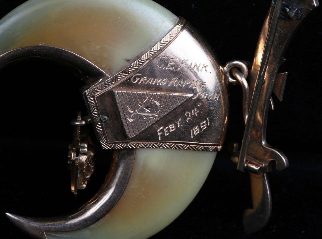 ANTIQUE 14K GOLD SHRINER MASONIC  PIN, DATED 1891 - 2