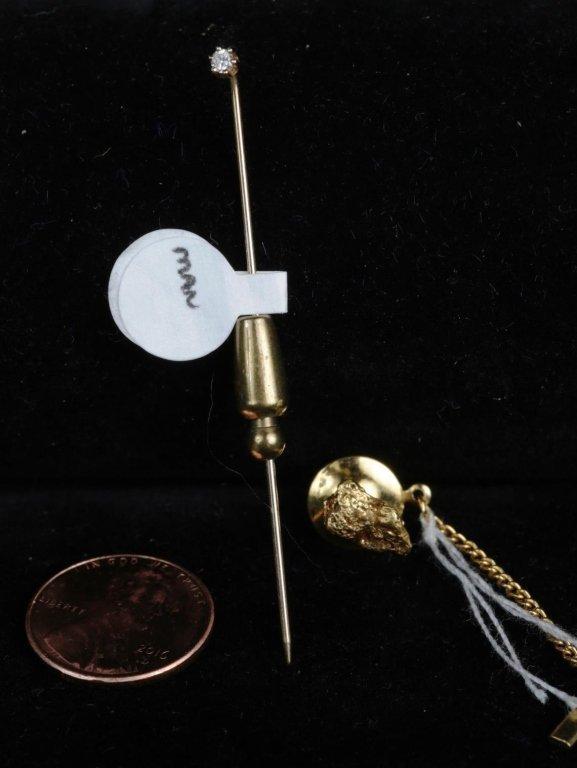 DIAMOND STICK PIN & GOLD NUGGET TIE TACK