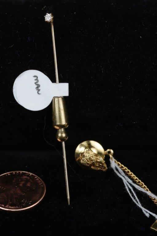 DIAMOND STICK PIN & GOLD NUGGET TIE TACK - 2