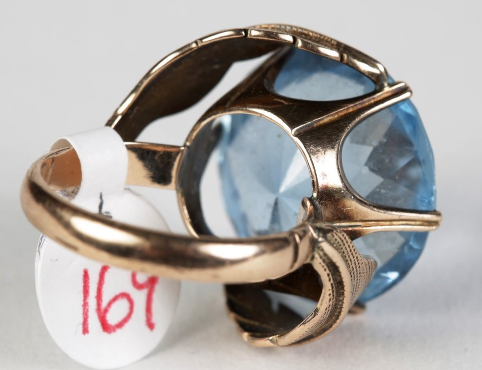 14k YG and BLUE TOPAZ LADIES COCKTAIL RING - 5