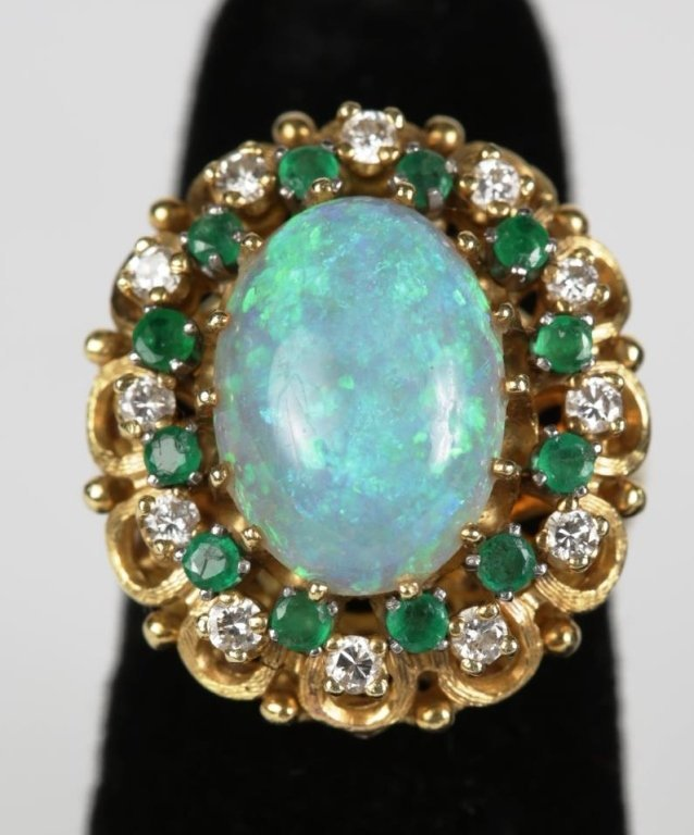 UNMARKED GOLD DIAMOND,EMERALD & OPAL COCKTAIL RING