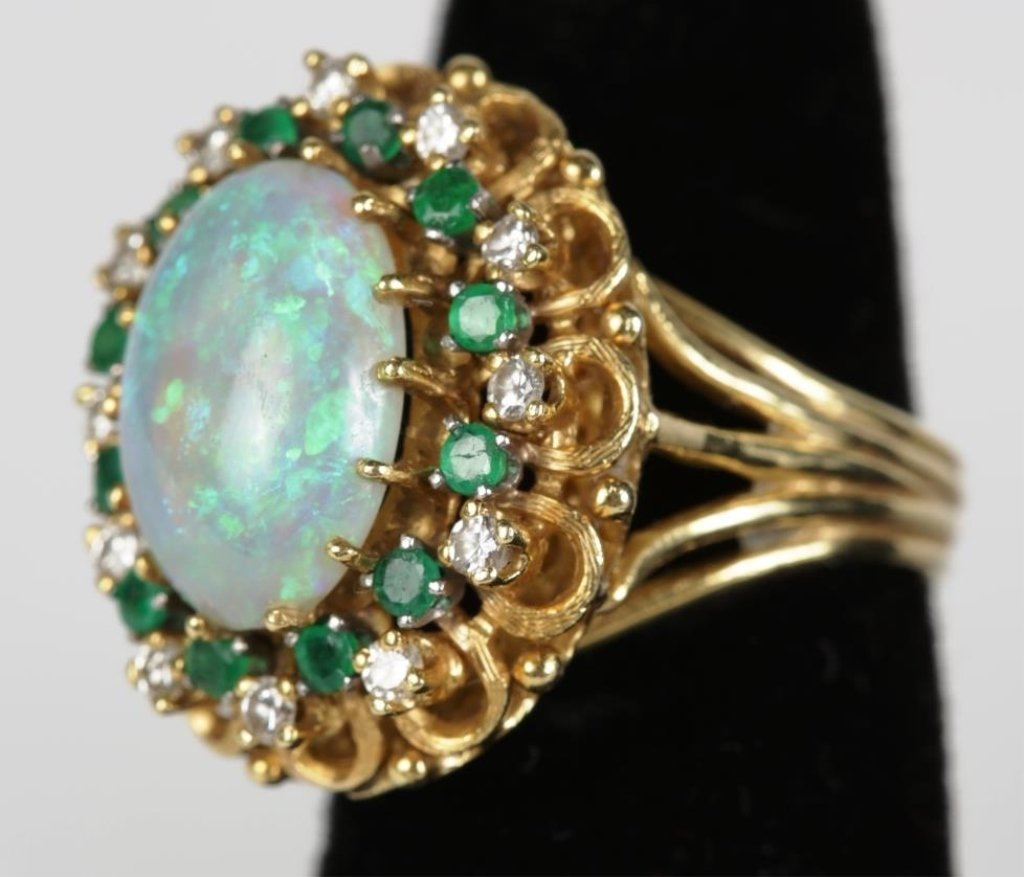 UNMARKED GOLD DIAMOND,EMERALD & OPAL COCKTAIL RING - 2