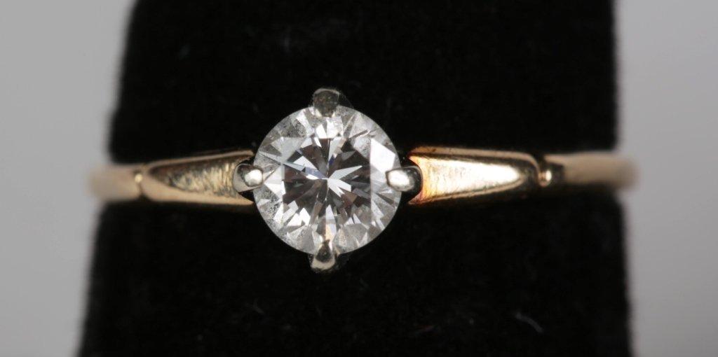 14k YG .65ct SOLITIARE DIAMOND RING