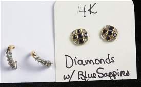 2 PAIR DIAMOND & 14k YG POST EARRINGS