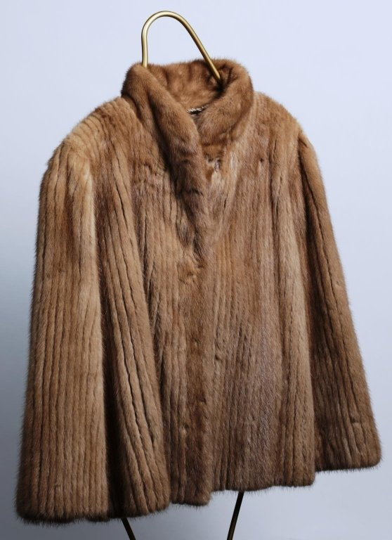 CHAMPAGNE STRIPPED MINK FUR JACKET