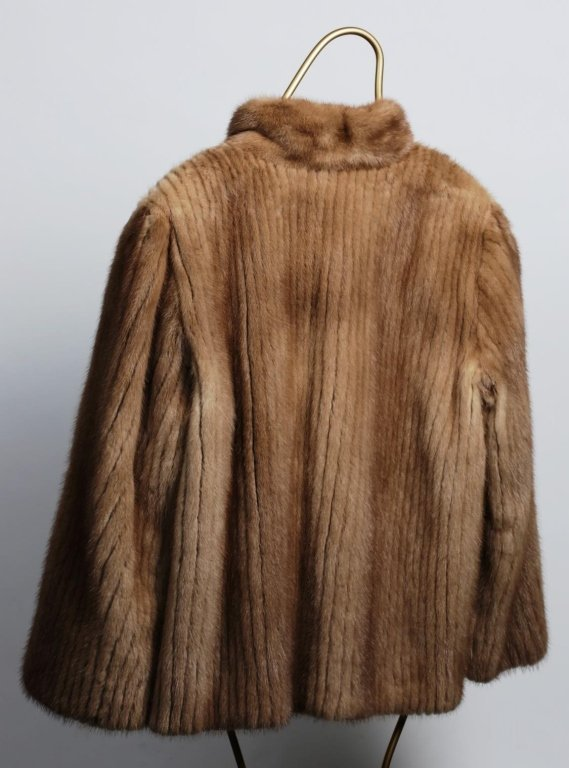 CHAMPAGNE STRIPPED MINK FUR JACKET - 3