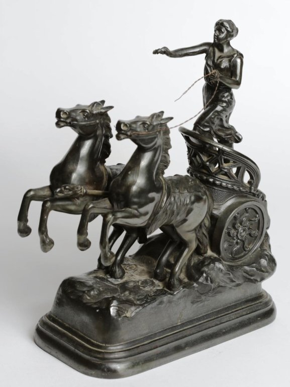 SPELTER ROMAN CHARIOT and HORSES STATUE - 3