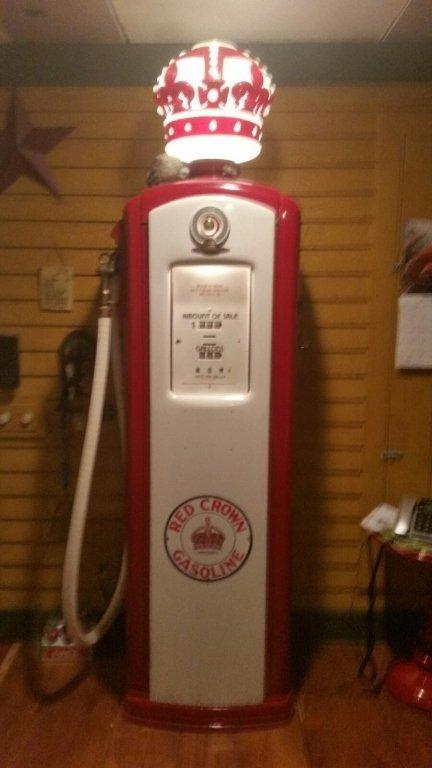 RED CROWN ANTIQUE GAS PUMP, BENNETT #646