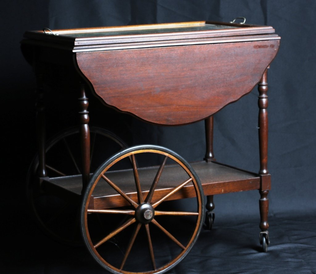 WALNUT DROPLEAF TEA CART with SERVING TRAY