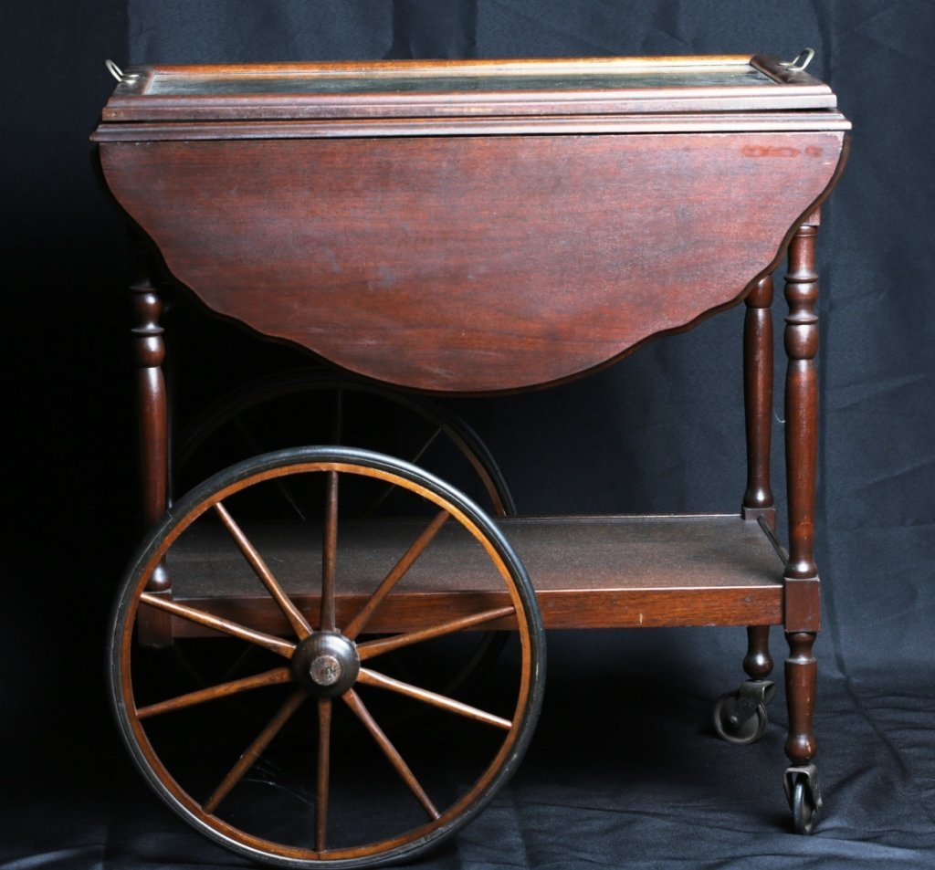 WALNUT DROPLEAF TEA CART with SERVING TRAY - 2