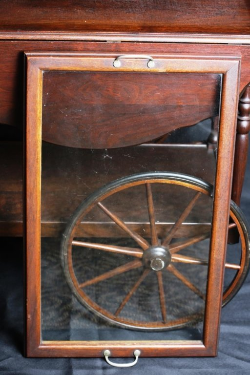 WALNUT DROPLEAF TEA CART with SERVING TRAY - 6