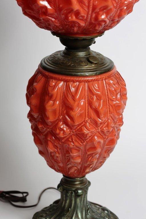 ORANGE GLASS GONE WITH the WIND PARLOR LAMP - 3