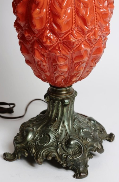 ORANGE GLASS GONE WITH the WIND PARLOR LAMP - 4