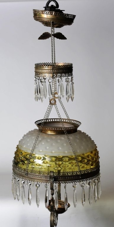 HANGING OIL LAMP with GLASS SHADE & PRISMS