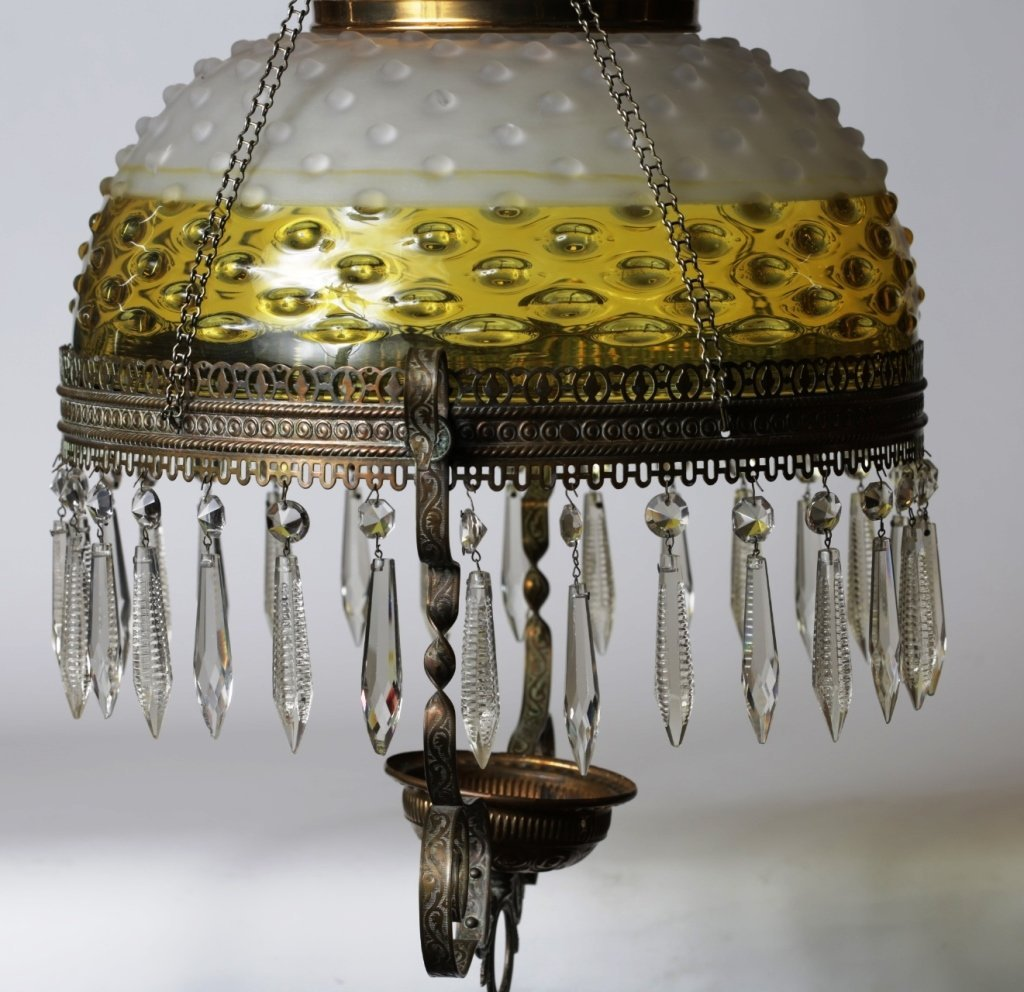 HANGING OIL LAMP with GLASS SHADE & PRISMS - 4