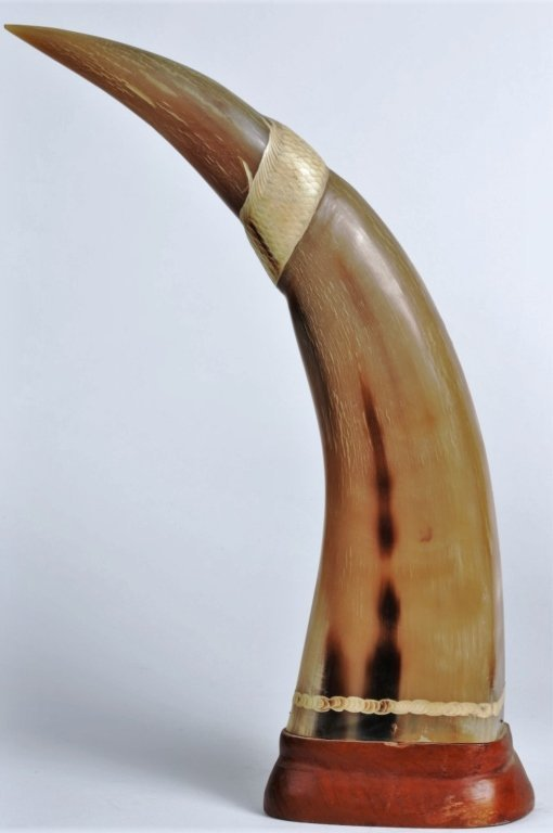 PAIR OF WATER BUFFALO HORN CARVINGS - 4