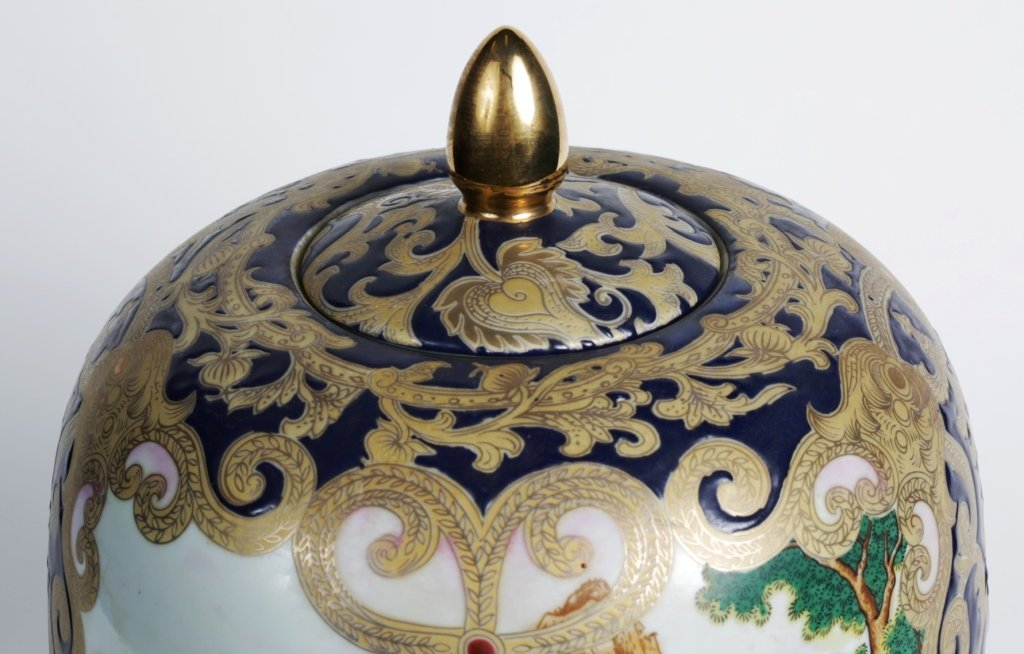 CHINESE PORCELAIN JARDINIERE VASE with LID - 3
