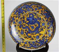 1825 CHINESE PORCELAIN DRAGON CHARGER