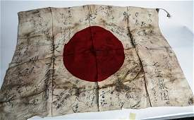 WWII JAPANESE BATTLE FLAG  SIGNED